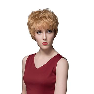 novas curta capless reta perucas de cabelo humano em camadas