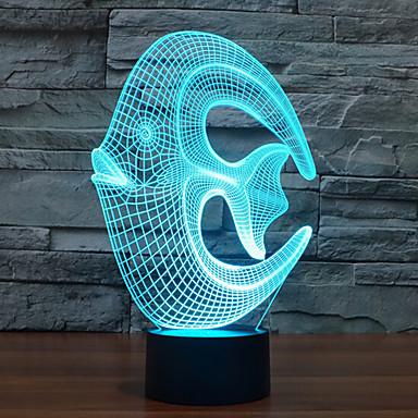 reef fisk berørings dimming 3D LED nattlys 7colorful dekorasjon atmosfære lampe nyhet belysning jul lys