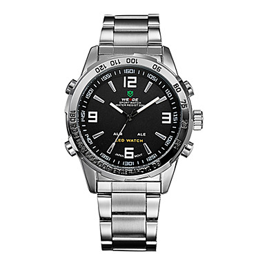WEIDE Men's Sport Watch / Wrist Watch Alarm / Calendar / date / day / Chronograph Stainless Steel Band Luxury Silver / Water Resistant / Water Proof / LED / Dual Time Zones