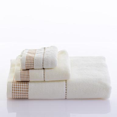 yukang®three stykke bomuld håndklæder 1 badehåndklæde 1 vask håndklæde 1 børn håndklæde tredelt stribe seriesyarn farvet