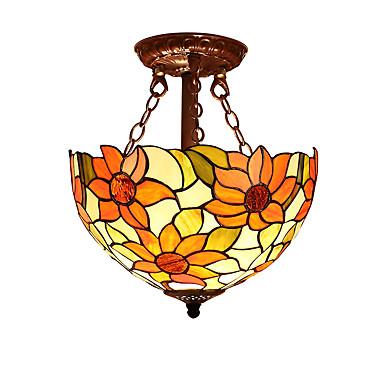 solsikkefarve med 2 lys til tiffany halv vedhængslampe høj kvalitet