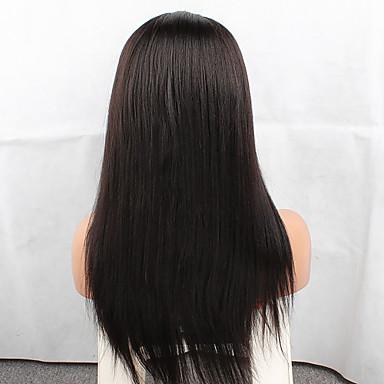 Echthaar Ohne Klebstoff und  Spitze in der Front Spitzenfront Perücke Brasilianisches Haar Glatt Perücke 120% Haardichte mit Babyhaar Natürlicher Haaransatz Afro-amerikanische Perücke 100 % von Hand