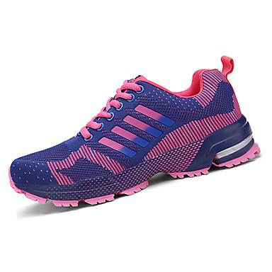 Damer Herrer Sneakers Komfort Tyl Forår Efterår Atletisk Løb Komfort Snøring Flad hæl Mørkeblå Lilla Rosa Grøn Sort/Hvid Flad