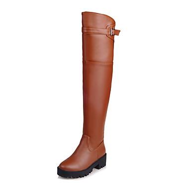 Dame-Kunstlær-Tykk hæl-Komfort Ridestøvler Motestøvler Motorsykkelstøvler-Støvler-Friluft Kontor og arbeid Formell Fritid Fest/aften-