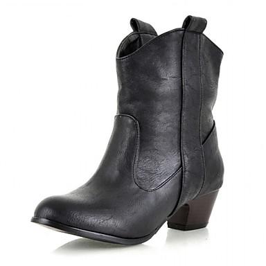Mulheres Sapatos Sintético Couro Envernizado Courino Inverno Outono Botas Cowboy/Country Coturnos Saltos Caminhada Salto Robusto Poa para