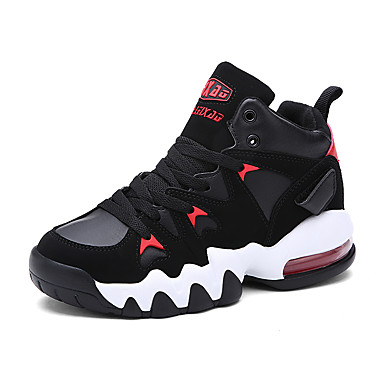 Sneakers-Læder-Komfort-Dame-Sort Rød-Udendørs Fritid Sport-Flad hæl