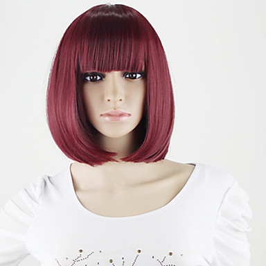Cheap Korean Synthetic Wigs With Bangs Women Short Bob Wig Store Wholesale  Wine Red Short Synthetic 3085e66fe