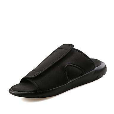 Masculino sapatos Tecido Primavera Verão Outono Conforto Chinelos e flip-flops Para Casual Preto Roxo Branco/Preto