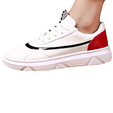 Sneakers-PU-Komfort-Herre-Rød Sort og Rød-Fritid Sport-Flad hæl