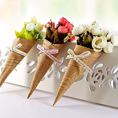 1 Gren Plastikk Papir Roser Bordblomst Kunstige blomster