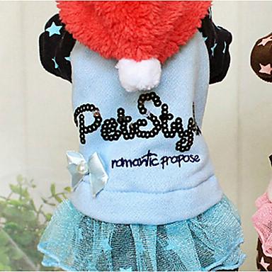 Hond Hoodies Jumpsuits Jurken Hondenkleding Letter & Nummer Blauw Roze Katoen Dons Kostuum Voor huisdieren Dames Houd Warm