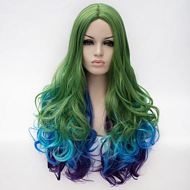 Kostymeparykker / Syntetiske parykker Grønn Dame Lokkløs capless parykker Veldig lang Syntetisk hår