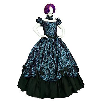 Gothik Steampunk® Viktorianisch Spitze Satin Damen Kleid Cosplay Kurzarm Normallänge