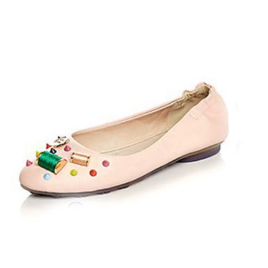 Fladsko-Læder-Flade balletsko-Damer-Hvid Lys pink-Fritid-Flad hæl