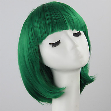 Synthetic Wig Straight Bob Haircut Synthetic Hair Green Wig Women's Short Capless