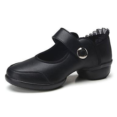 Kan ikke tilpasses Damer Dansesko Læder Sneakers Træning Begynder Blondebroderi Kraftige Hæle Sort Rød 2,5 - 4,5 cm