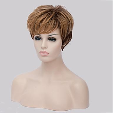 女性 人工毛ウィッグ キャップレス ショート丈 ストレート ブロンド バング付き ナチュラルウィッグ コスチュームウィッグ