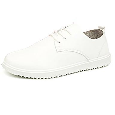Herrn Schuhe Leder Frühling Herbst Komfort Loafers & Slip-Ons Walking Schnürsenkel für Normal Draussen Weiß Schwarz