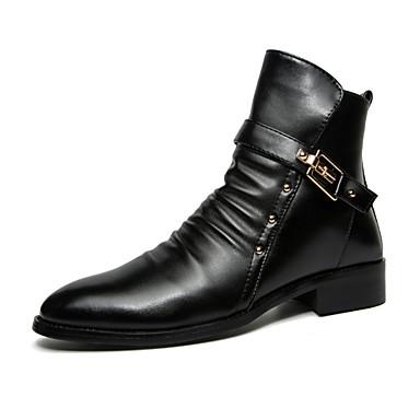 Støvler-PU-Modestøvler-Herre-Sort-Udendørs-Lav hæl