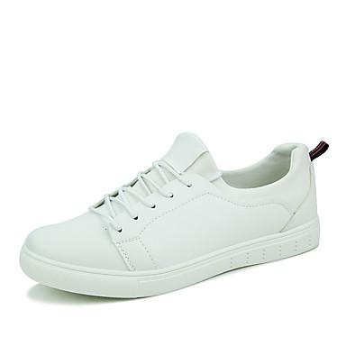 Masculino Sapatos Courino Primavera Verão Outono Inverno Tênis Rasteiro Cadarço Para Atlético Casual Branco Preto