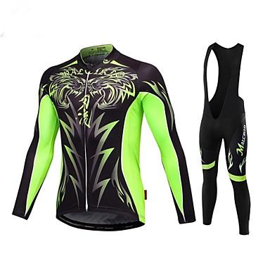 Malciklo Homens Manga Longa Camisa com Calça Bretelle - Branco Preto Formais Moto Tights Bib Camisa/Roupas Para Esporte Conjuntos de