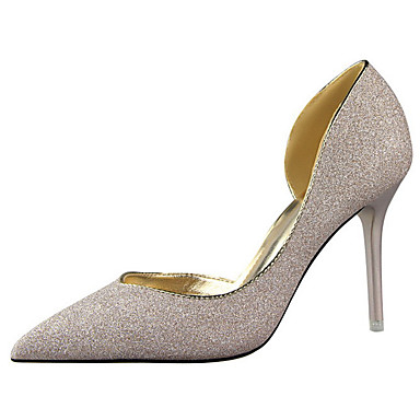 Damen Schuhe Leinwand Frühling Sommer Herbst Komfort High Heels Walking Stöckelabsatz für Party & Festivität Kleid Schwarz Silber Blau