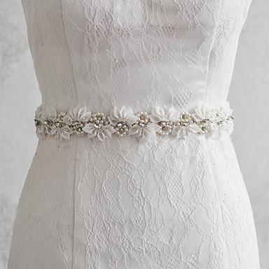 Satin Bryllup Fest / aften Hverdag Bånd With Perlearbeid Perle Appliqué Blomster Dame Skjerf