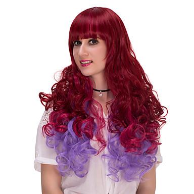 viininpunainen ja violetti pitkät hiukset wig.wig lolita, halloween peruukki, väri peruukki, muoti peruukki, luonnollinen peruukki,