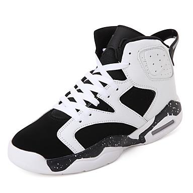 Sneakers-Læder-Komfort-Herre-Sort Rød Sort og Hvid-Udendørs Fritid Sport-Flad hæl