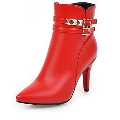 Damen-Stiefel-Outddor Büro Lässig-Kunstleder-Stöckelabsatz-Modische Stiefel-Schwarz Rot Weiß Mandelfarben
