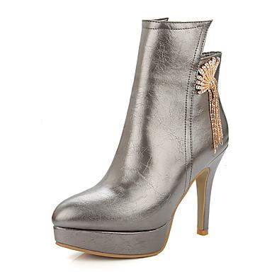Feminino Sapatos Courino Primavera Outono Inverno Botas Salto Agulha Ziper Corrente Para Casual Social Festas & Noite Branco Preto