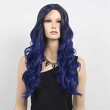 Damen Synthetische Perücken Kappenlos Lang Wellig Marinenblau Gefärbte Haarspitzen (Ombré Hair) Dunkler Haaransatz Mittelscheitel Cosplay