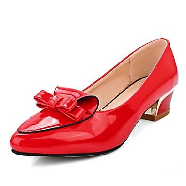女性用 靴 エナメル 夏 秋 コンフォートシューズ ヒール ローヒール リボン のために カジュアル オフィス&キャリア ブラック グレー レッド