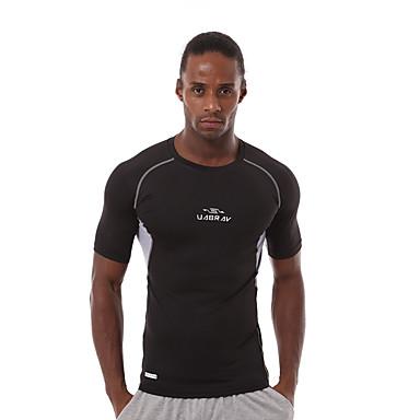 Herre T-skjorte til jogging - Oransje, Grå, Grønn sport T-Trøye / Genser / Topper Kortermet Sportsklær Fort Tørring, Pustende,