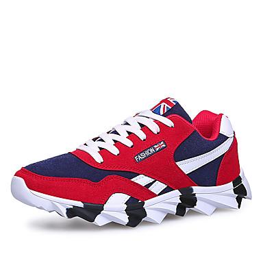 Sneakers-Ruskind-Komfort-Herre-Sort Blå Rød-Udendørs Fritid Sport-Flad hæl