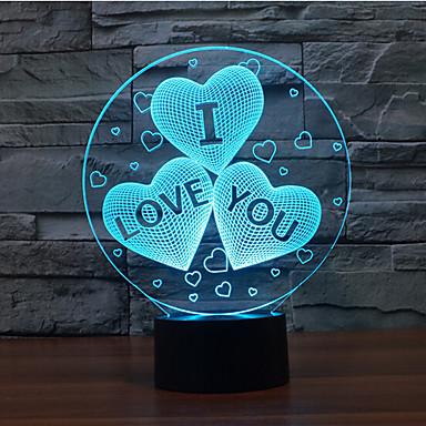 te quiero toque oscurecimiento 3d llevó la luz de la noche de la lámpara de la decoración ambiente 7colorful de iluminación novedoso luz