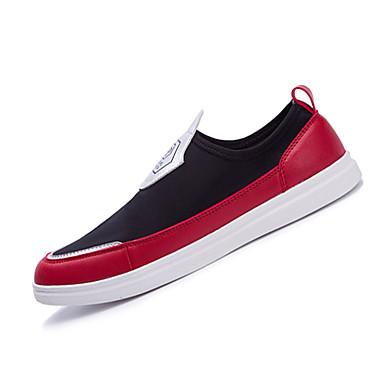 Masculino-Mocassins e Slip-Ons-Conforto-Rasteiro-Preto Vermelho-Tecido-Casual