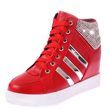 Damen-Loafers & Slip-Ons-Outddor Lässig-Kunstleder-KeilabsatzSchwarz Rot