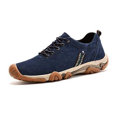 Herre-Griseskinn-Flat hæl-Komfort-Treningssko-Friluft Fritid-Blå Kaki