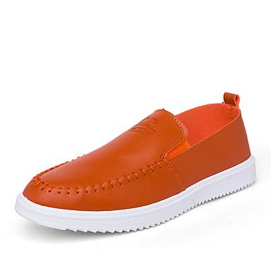 Loafers og Slip-ons-Kunstlæder-Komfort / Rund tå / Lukket tå-Herre-Sort / Hvid / Orange-Hverdag-Flad hæl