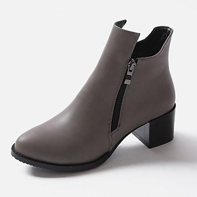 Hæle-Syntetisk laklæder Kunstlæder-Combat-støvler Cowboystøvler Ankelstøvler Ridestøvler Modestøvler Motorcykelstøvler-Dame-Sort Gul Grå-