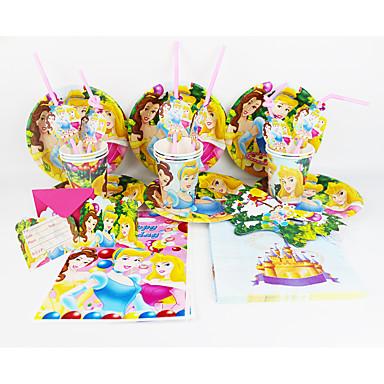 ディズニープリンセス92pcs誕生日パーティーの装飾の子供evnentパーティー用品パーティーの装飾12人が使います