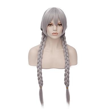 Kostymeparykker / Syntetiske parykker Med hestehale Hvit Dame Lokkløs capless parykker Syntetisk hår