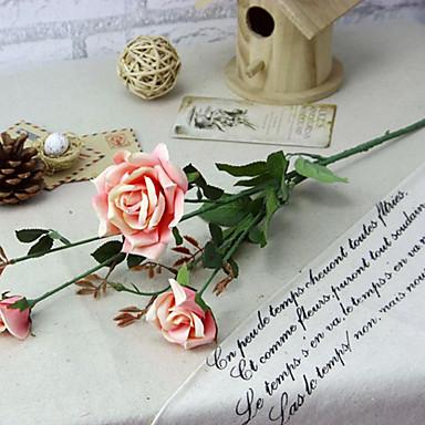 1pc 1 Afdeling Polyester / Plastik Roser Bordblomst Kunstige blomster 30.7inch/78CM