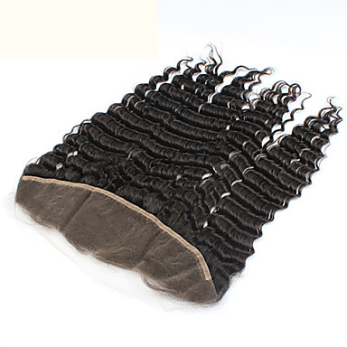 전면 레이스 딥 웨이브 머리카락 폐쇄 다크 브라운 스위스 레이스 그램 모자 크기