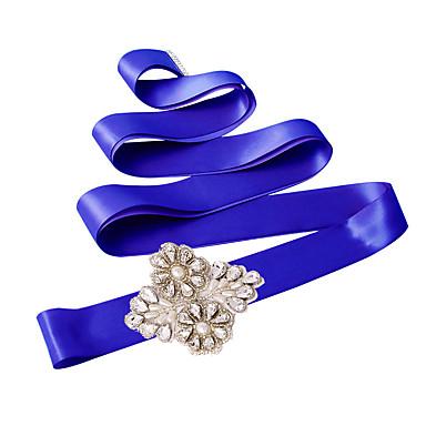 Satin Bryllup Fest / aften Hverdag Ordensbånd With Bjergkrystal Perlearbejde Perle Paillette Applikeret broderi Dame Skærf