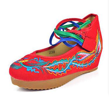 女性用 靴 キャンバス 春 夏 コンフォートシューズ メリージェーン 刺繍の靴 フラット ウォーキング フラットヒール ベックル フラワー のために カジュアル ホワイト ブラック レッド ブルー