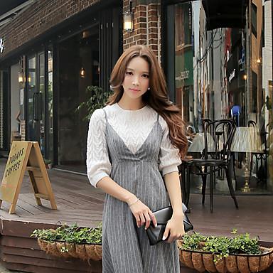 dabuwawa kvinners casual / enkel / avansert vanlig genser, solid rund hals ½ lengde ermet