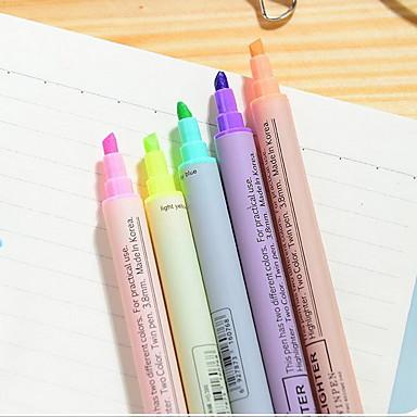 Tussit & Korostuskynät Kynä Korostuskynät Kynä,Muovi tynnyri Sininen Keltainen Violetti Oranssi Vihreä Ink Colors For Koulutarvikkeet