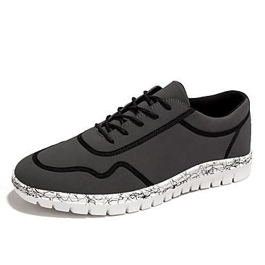 Herrer Sneakers Komfort Stof Forår Efterår Afslappet Komfort Snøring Flad hæl Sort Grå Grøn Flad